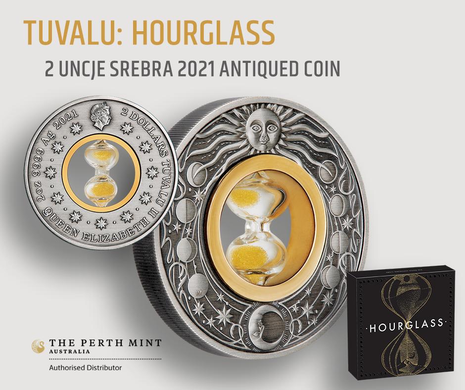 Tuvalu: Hourglass 2 uncje Srebra 2021 Antiqued Coin