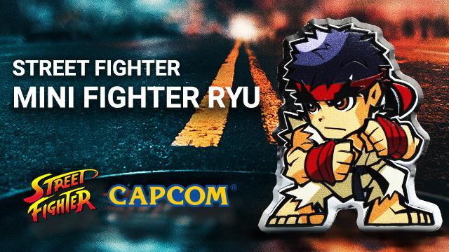 Street Fighter: Mini Fighter Ryu kolorowany 1 uncja Srebra 2021 Proof