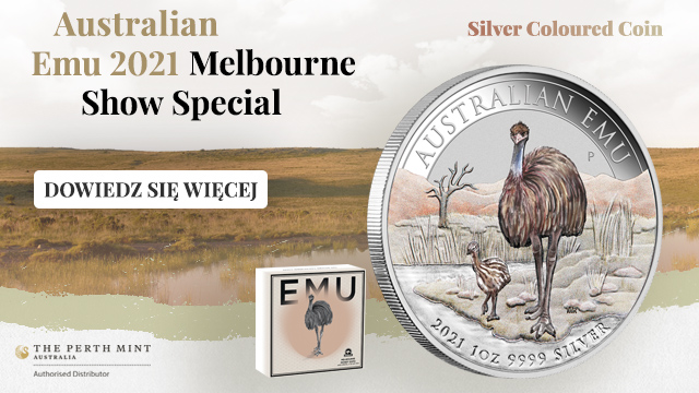 Australijski Emu kolorowany 1 uncja Srebra 2021