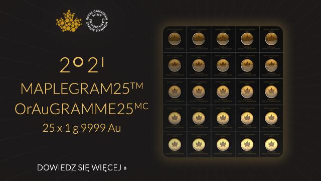 Kanadyjski Liść Klonowy 25 x 1 gram Złota 2021