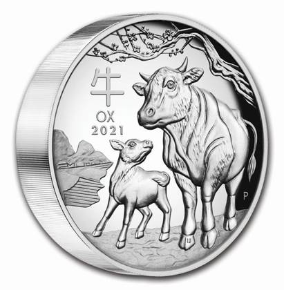Lunar III: Rok Bawoła 5 uncji Srebra 2021 Proof High Relief