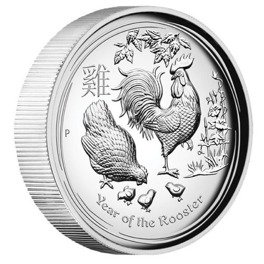 Lunar II: Rok Koguta 1 uncja Srebra 2017 Proof High Relief