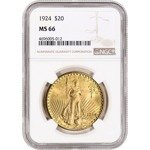Saint-Gaudens Gold Double Eagle 20 Dollar 1924 NGC MS66